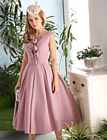 Cocktail Party Dress-Pearl Pink A-line Scoop Tea-length Satin / Taffeta