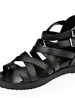 Chaussures Femme-Décontracté-Noir / Blanc-Talon Plat-Confort / Bout Ouvert-Sandales-Similicuir