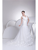 Trumpet/Mermaid Wedding Dress-Ivory Court Train V-neck Organza / Satin