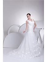 웨딩 드레스-아이보리(색상은 모니터에 따라 다를 수 있음) 트럼펫/멀메이드 쿼트 트레인 V 넥 오르간자 / 사틴