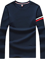 Men's Long Sleeve T-Shirt,Cotton / Spandex Casual Striped