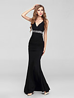 Formal Evening Dress-Black Ball Gown V-neck Sweep/Brush Train Chiffon / Tulle