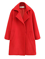 Women's Solid Red Coat,Simple / Street chic Long Sleeve Polyester