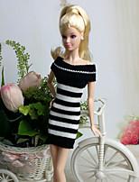Poupée Barbie-Blanc / Noir-Informel-Robes- enLaineux