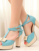 Women's Shoes Leatherette Chunky Heel Peep Toe Sandals Outdoor / Dress / Casual Blue / Pink / Purple
