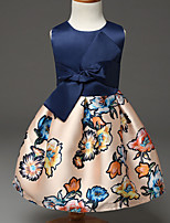 Girl's Blue / Red Dress,Print Polyester Summer / Spring / Fall