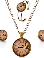 Lureme® Time Gem Series Simple Vintage Style Clock with Dancer Pendant Necklace Stud Earrings Bangle Jewelry Sets