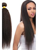 1pcs / lot 12-24inch haces de tejido natural, negro rizado pelo liso sin procesar del pelo humano del pelo virginal brasileño