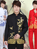 Suits Tailored Fit Mandarin Collar Single Breasted More-Button Polyester/Rayon(T/R) Patterns 2
