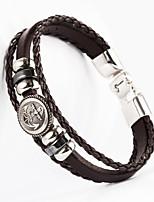 Anchor Button Shape PU Men's Bracelet
