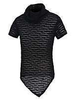 Men's Short Sleeve T-Shirt,Cotton Casual / Sport Color Block