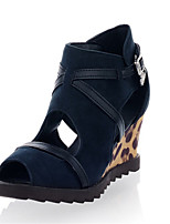 Zapatos de mujer-Tacón Cuña-Punta Abierta-Sandalias-Oficina y Trabajo / Vestido / Casual-Vellón-Negro / Azul