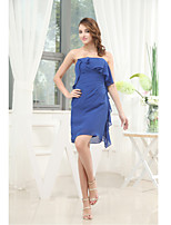 Short/Mini Chiffon Bridesmaid Dress-Royal Blue Sheath/Column Strapless