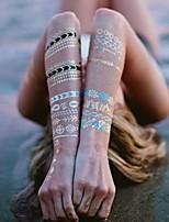 Séries Totem-ALL BLUE-Tatuagem Adesiva-Non Toxic / Halloween / Tamanho Grande / Hawaiian / Lombar / Waterproof / Metálico / Efeito 3D /