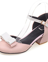 Women's Shoes Chunky Heel Heels / Round Toe Heels Party & Evening / Dress / Casual Black / Pink / White