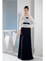 Sheath/Column Mother of the Bride Dress-Dark Navy Floor-length Lace / Charmeuse