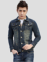 Men's Pure Long Sleeve Jacket,Cotton / Polyester Casual