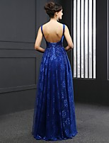 Formal Evening Dress-Royal Blue Sheath/Column Jewel Sweep/Brush Train Lace