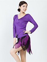 Latin Dance Outfits Women's Training Lace / Milk Fiber Crystals/Rhinestones / Tassel(s) 2 Pieces Black / Purple