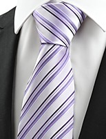 KissTies Men's Striped Black Violet Microfiber Tie Necktie For Wedding Party Holiday With Gift Box