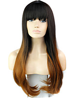 Ombre Full Bang Wig Cheap Fashion Heat Resistant Synthetic Female Beauty Two-tone Wigs