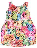 Girls Summer Dress Cute Cat/Dog/Rabbit/Candy Print Colorful Dress with Cotton Kids Sleeveless Party Dress Costumes