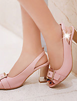 Women's Shoes Leatherette Chunky Heel Peep Toe Sandals Outdoor / Dress / Casual Black / Pink / White