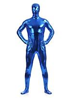 Unisex Shiny Zentai Suits Spandex / Shiny Metallic Blue Zentai