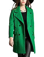 Women's Solid Green Coat,Simple Long Sleeve Wool