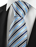 KissTies Men's Striped Blue Grey Microfiber Tie Necktie For Wedding Party Holiday With Gift Box