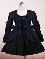 Steampunk® Cute Lace Up Black  Cotton Gothic Lolita Dress