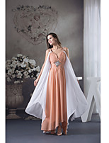 Formal Evening Dress-Orange / White Sheath/Column Spaghetti Straps Ankle-length Chiffon