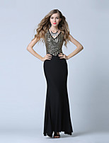 Formal Evening Dress-Black Trumpet/Mermaid V-neck Ankle-length Tulle / Sequined