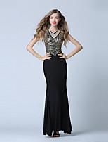 포멀 이브닝 드레스-블랙 트럼펫/머메이드 발목 길이 V-넥 튤 / 스팽글