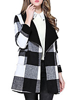 Women's Plaid Black Pea Coats,Simple Long Sleeve Polyester