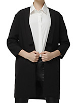 Women's Solid Black Coat,Simple / Street chic Long Sleeve Polyester