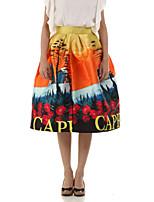 Boutique G Women's Floral Orange Skirts,Cute Knee-length
