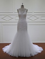Fit & Flare Wedding Dress-Ivory Court Train Scoop Lace / Tulle