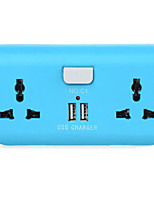 Dual-Port USB EU Plug Adapter Charger with 2 x Power Sockets for Cellphone / Tablet PC