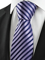 KissTies Men's Striped Violet Black Microfiber Tie Necktie For Wedding Party Holiday With Gift Box