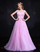 Vestito-Rosa chiaro Sera Da ballo Con decorazione gioiello Lungo Di pizzo / Tulle