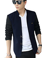 Men's Korean Leisure Spring Color Block Slim Long Sleeve Jacket