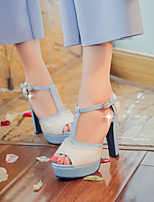 Women's Shoes  Chunky Heel Peep Toe / Platform / Open Toe Sandals Party & Evening / Dress / Casual Blue / Pink / Beige