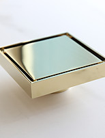 Square Shower Floor Drain with Tile Insert Grate Gold Finish