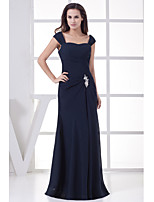 A-line Mother of the Bride Dress-Dark Navy Floor-length Chiffon