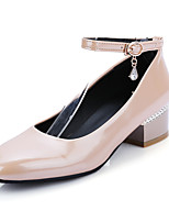 Women's Shoes Patent Leather Chunky Heel Heels / Square Toe Heels Casual Black / White / Almond / Burgundy