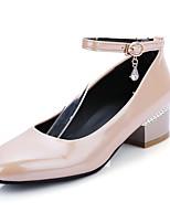 Zapatos de mujer-Tacón Robusto-Tacones / Punta Cuadrada-Tacones-Casual-Cuero Patentado-Negro / Blanco / Bermellón / Almendra