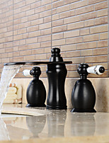 Widespread Two Handles Three Holes in Oil-rubbed Bronze Bathroom Sink Faucet