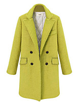 Women's Solid Black / Yellow Coat,Simple Long Sleeve Wool