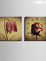 E-HOME® A Flower Clock in Canvas 2pcs